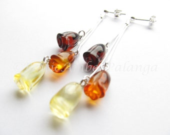Baltic Amber Dangle Rose Earrings