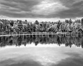 On The Lake -- Black and White Panoramic Photo Print