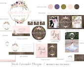 Premade Marketing Package for Photographers & Small Business Logo Biz Card Branding Package Hand Drawn Watercolor Floral Frame+Written Text
