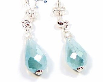 Opaque Faceted Glass Aqua Teardrop Earrings with Crystals