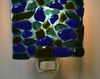 Green and Blue Glass Stones Night Light
