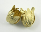 Raw Brass Tulip, Tulip Bead Cap, Flower Bead Cap, Brass Stamping, 15mm x 22mm - 2 pcs. (r167)