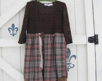 Boho dress, Rustic dress, paid dress, brown plaid apricot, M-L, vintage gypsy cowgirl, boho layered dress, upcycled eco friendly