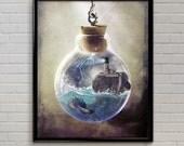 Lighthouse aquarium whimsical painting