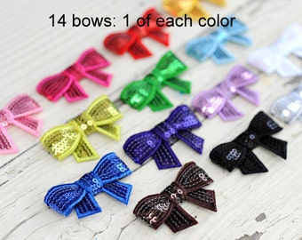 Sequin Bows - Wholesale Sequin Bows - Set of 14 - 1 OF EACH COLOR - 2 Inch Sequin Bows For Headbands and Clips