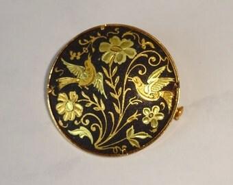 Vintage Damascene Brooch Round Black Gold
