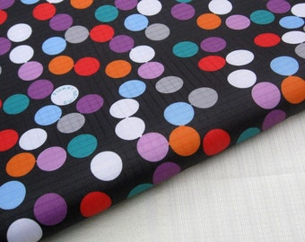 "3216A  - 1 yard Vinyl Waterproof Fabric - Color Dots on Black - 57""x36"""