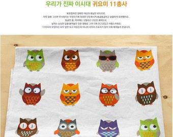 6385 - 1 yard  Cotton Linen Blend Fabric - owls