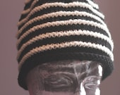 hand-knitted black with white stripes pointy elf gnome hat cap