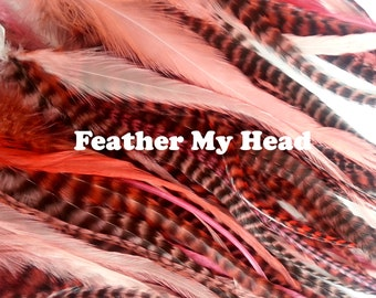 """15 Pc Wide Accent Feather Hair Extenions 7"""" to 11"""" Inches Long Coral Tones"""