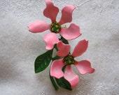 Vintage Pink and Green Enamel Flower Brooch
