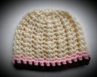 Cute baby girl CROCHET HAT. 3-6 mo. Ready to ship
