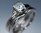 Bridal Ring Set Cushion Moissanite Engagement Ring & Narrow Wedding Band, Palladium Fold Solitaire Ring Unique Half Bezel Moissanite Ring