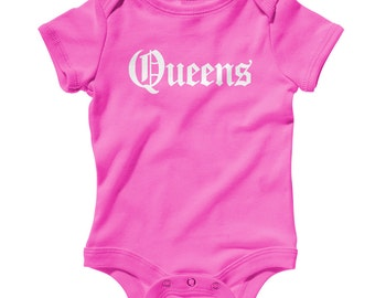 Baby Queens Gothic NYC Romper - Infant One Piece - NB 6m 12m 18m 24m - Queens Baby - 3 Colors