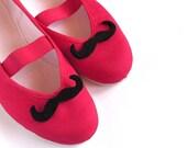 mustache / moustache felt funny red grey black elegant party ballet flats shoes wedding bride poletsy fashion gift summer april trends may
