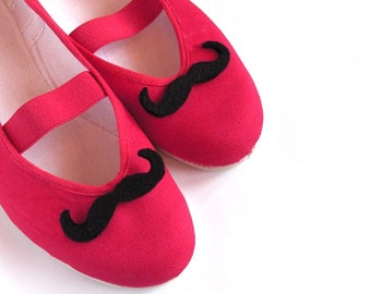 mustache / moustache felt funny red grey black elegant party ballet flats shoes wedding bride poletsy fashion gift summer april trends may