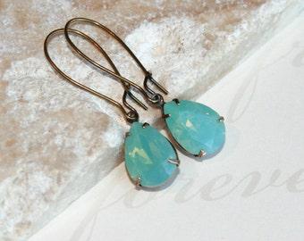 Rhinestone earrings, Swarovski earrings, Pacific Opal Earrings, Tear Drop Swarovski Crystal