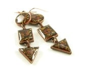 Orgone Energy Long Dangle Earrings - Geometric Shapes in Antique Copper with Carnelian Gemstone - Orgone Energy Jewelry - Artisan Jewelry