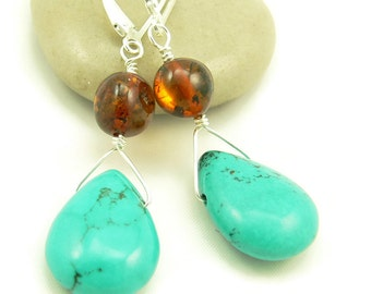 Turquoise Gemstone and Natural Cognac Baltic Amber Wire Wrapped Dangle Earrings - Artisan Jewelry