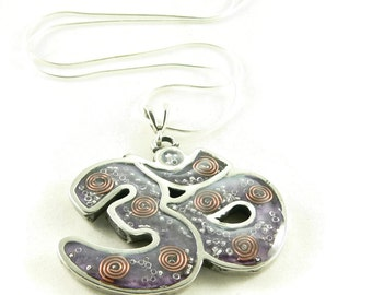 Orgone Energy Pendant Necklace - Large Om Symbol Shaped Pendant with Sterling Silver Chain - Choose Your Stone/Color - Artisan Jewelry