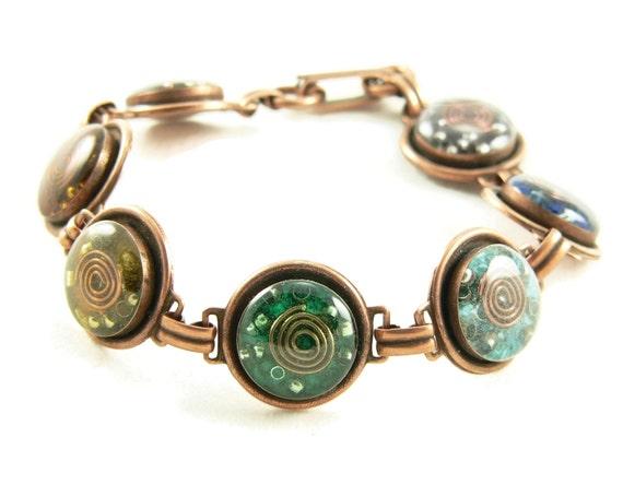 Orgone Energy Bracelet - Chakra Rainbow Bracelet in Copper - Chakra Gemstones - Balance and Healing - Artisan Jewelry