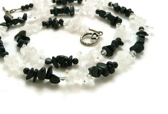 Black Onyx and Quartz Crystal Necklace or Triple Wrap Bracelet - Sterling Silver - Gemstone Jewelry - Artisan Jewelry