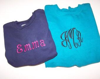 Monogrammed Sweatshirt  Initials Sweatshirt Child Adult Monogrammed Pullover