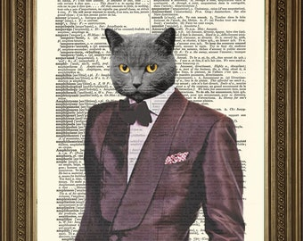 """1970s COOL CAT PRINT: Velvet Purple Suit Fun Dictionary Art Wall Hanging on Old Dictionary Page (8 x 10"""")"""