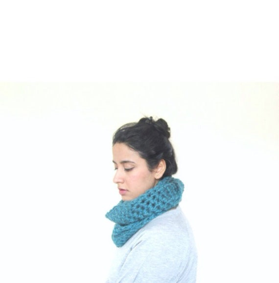 Chunky Cowl, Infinity Scarf, Cowl Snood Scarf in Teal Blue handmade in a Wool blend - READY TO SHIP