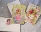 Vintage Greeting Cards Sweet Girls 70s Girls 1970s Cards with matching envelopes