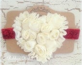 Heart Headband in Cream Ivory & Red for Babies on Glitter Elastic in Red for Valentine's Day, Baby Girl, Newborn, Shabby Flower Headband