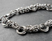 Stainless Steel Byzantine Flower Bracelet Chainmaille Chain Mail Jewelry Handmade Mens Unisex
