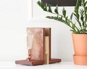 Signature Bookends Sapele Wood- Modern Bookends, Book Accessories, Solid Sapele, Edison Bulb Lamp