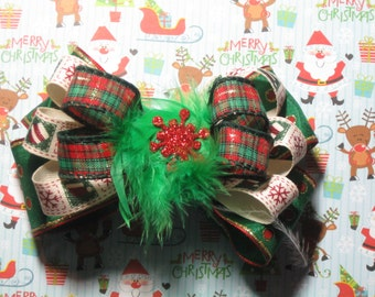 Red Green Plaid & Polka Dot Christmas Hairbow Holiday Hair Bow