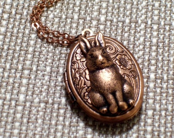 Copper Rabbit Locket, Copper Floral Locket, Easter Bunny Locket, Flower Locket, Oval Copper Locket Pendant, Animal Jewelry, Rabbit Jewelry