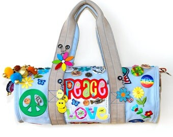 Boho style Duffel Bag Nike Purse Hippy chic Gypsy Peace and Love weed Peace symbol flower small handbag original colorful ONE OF A KIND