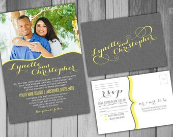 Wedding Invitation Photo Weddding Invitation Wedding Invite Grey and Yellow and Grey Printable wedding Script Wedding RSVP Cards