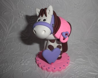 Polymer Clay Horse/Pony  Personalized Cake Topper, Keepsake, Gift