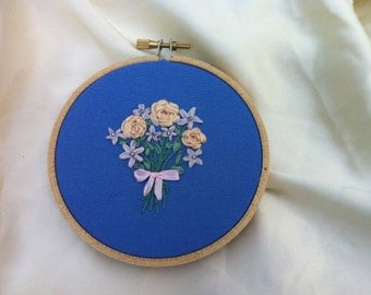 Bouquet of Flowers Embroidered Wall Hanging Hoop Art - by BeanTown Embroidery