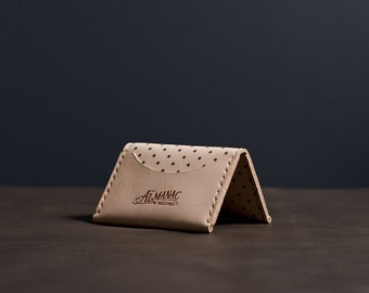 Three Pocket Folded Wallet - Veg Tan w/ Navy Dot