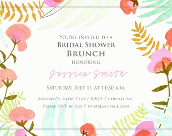 Bridal Lunch Invitation - Watercolor Flower Wreath