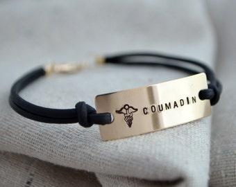 Simple Medical Alert Bracelet -  Custom - Personalized - Med ID