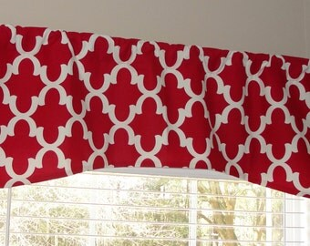 """Premier Prints Fynn Timberwolf Red and White Arch Shaped Valance 52"""" x 19"""" with Lining Lined"""
