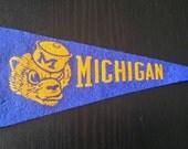 40's-50's Vintage University of Michigan Mini Felt Pennant