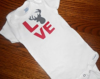 Beautiful Baby Onsie/Bodysuit with LOVE with Deer Head Hand Painted  - Baby Gift Ideas