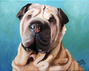 Custom dog portrait, Shar Pei painting, hand painted on 8x12 canvas, original pet portrait from your photo, gift for pet lover