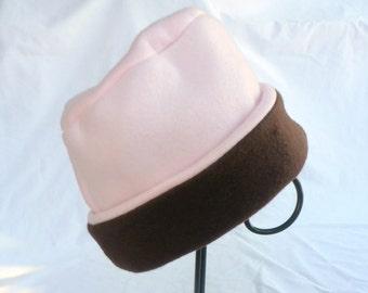 Pink Fleece Hat,  Brown Hat, Fleece Hat, Roll Brim Hat, Soft and Warm Hat