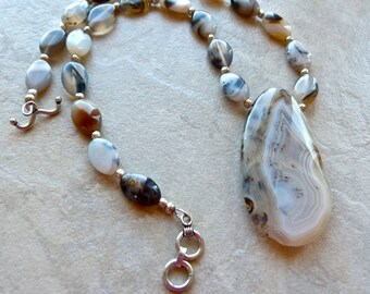 Large Stone Montana Moss Agate and Sterling Silver Artisan Necklace
