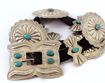 Vintage Navajo Concho Turquoise and Silver Huge Native American Concho Leather Belt