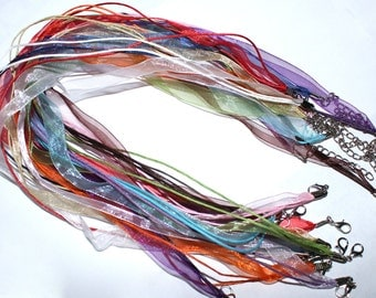 15 Organza Ribbon Necklaces - Ribbon Cords